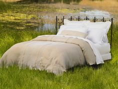 Hand Embroidered Linen Labyrinth Duvet Cover