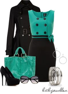 """Black 'n Sea Green"" by bitbyacullen on Polyvore"