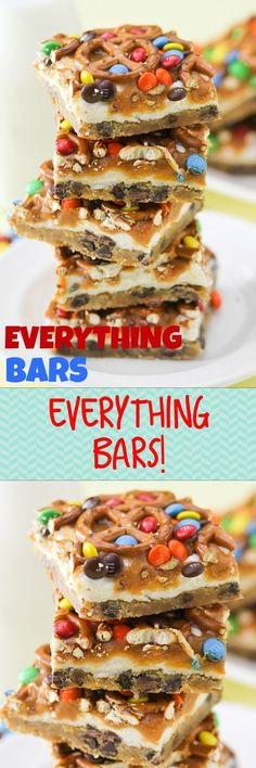 EVERYTHING BARS -- sweet and salty bites of heaven!! Chewy and crunchy -- we LOVE these!! They whip up in a cinch and they are my favorite go-to for potlucks and sleepovers.