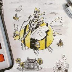 The collectors! #10 for inktober (gigantic)  .  .  .  .  .  #inktober #intober2017 #10 #gigantic #bees #collectors #art #illustration #drawing #traditionalart #copic #watercolor #artistoninstagram #instagood #followformore
