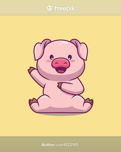 Cute pig waving hand cartoon illustratio... | Premium Vector #Freepik #vector