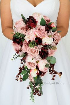 Beautiful Cascading Brides bouquet with mauve, blush pink, rose gold, burgundy and wine roses, peonies and cherry blossoms accented with seeded eucalyptus Pink And Burgundy Wedding, Blush Wedding Flowers, Dusty Rose Wedding, Rose Wedding Bouquet, Floral Wedding, Rose Wedding Flower Arrangements, September Wedding Flowers, Pink Wedding Theme, Bride Flowers