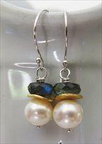 handmade pearl and labradorite earrings
