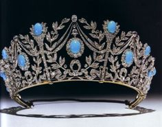 """Persian Flames of Love"" tiara. On her 21st birthday, Princess Margaret received from her mother the ""Flames of Love"" of Persian turquoises set in diamonds that the Queen herself had received as a wedding gift in 1923 from her father-in-law, King George V.      (photo ""Tiaras: A History of Splendour"" by Geoffrey Munn)"