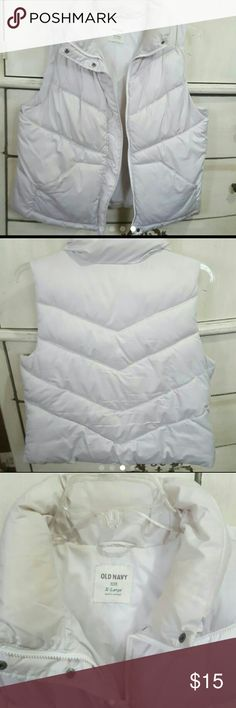 "Old Navy wms XL puffer vest cream beige save $$ Old Navy Brand Womens puffer vest Size XL extra large A pretty, unique beige/cream color Some light marking/stains that is common on winter wear, no big stains, no holes or rips 2 ouside pockets, zip up with flap that snaps closed Perfect for transitioning from winter to spring  Smoke free, pet friendly home  Length top to bottom 25.5"" Chest pit to pit 23""  Back shoulder to shoulder 16"" Old Navy Jackets & Coats Vests"