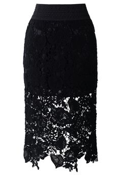 Floral and Leaves Crochet Pencil Skirt in Black by: Chicwish