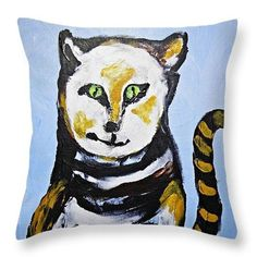 A Cat for Lynne Throw Pillow  http://fineartamerica.com/products/a-cat-for-lynne-sarah-loft-throw-..  #originalcontent #sarahloft #cats #painting
