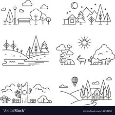 natur landscape Nature landscape outline icons with tree, plants, mountains, river royalty-free nature landscape outline icons with tree plants mountains river stock vector art amp; more images of line art Outline Drawings, Doodle Drawings, Easy Drawings, Doodle Art, Mini Drawings, Sketchbook Drawings, Sketchbook Ideas, Art Sketches, Free Vector Graphics