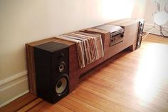 Player Entertainment Console Designed For Record Player & Vinyl Collection