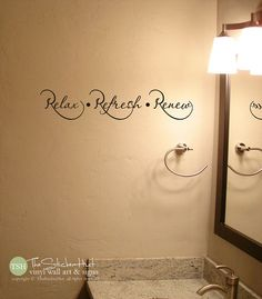 Relax Refresh Renew Bathroom Sayings Quote Vinyl Lettering Wall Words Stickers Decals 1757