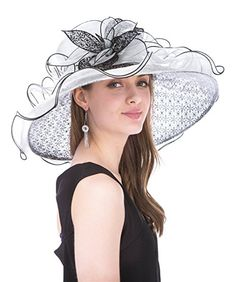 c3c42c26c2cd0 Saferin Women Kentucky Derby Church Dress Organza Hat Wide Brim Flat Hat  Black at Amazon Women s Clothing store