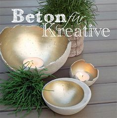 DIY concrete bowls for plants or candles. These are stupid easy to make and look great. Instructions in English are in the PDF link on the page.