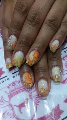 Coleccion eteri y be de organic nails Decoracion con swarovski y flores en 3D Pink Fantasy