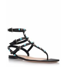 Valentino Black Leather Turquoise Rockstud Gladiator Sandals ($890) ❤ liked on Polyvore featuring shoes, sandals, valentino shoes, black leather shoes, greek sandals, flat gladiator sandals and roman sandals