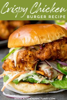 My Tried and Tested Crispy Chicken Burger with Honey Mustard Coleslaw is Soo Amazing. Using my secret recipe for making the perfect Crispy Chicken served on a toasted brioche bun, with jalapenos and lettuce. Waaay better than takeout! #ChickenBurger #Fakeaway #CrispyChicken #ChickenRecipes #Takeout #ButtermilkChicken Crispy Chicken Burgers, Homemade Chicken Burgers, Best Chicken Burger Recipe, Cajun Chicken Burger, Gourmet Chicken, Grilled Chicken Sandwiches, Turkey Burger Recipes, Fried Chicken Sandwich, Salad Chicken