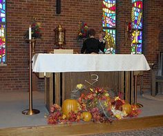 Decorating for Thanksgiving at St. Mary's