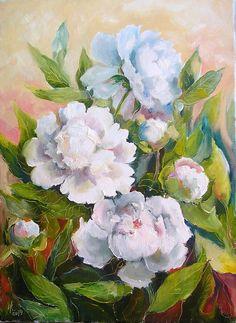 Peonies Original Painting Oil 11 x 15 in Peony by Mirabilitas