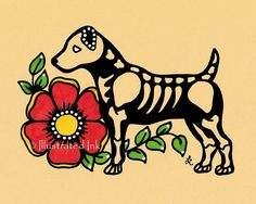 Day of the Dead Dog JACK RUSSELL TERRIER Dia de by illustratedink, $10.00