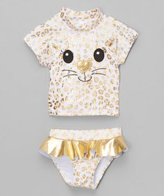 Look at this Candlesticks Gold Kitty Rashguard Set - Infant & Toddler on #zulily today!
