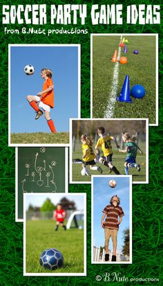 Soccer Party Game Ideas - Warm Up, Boot the Ball, Dribbling Obstacle Course, The Pass It Relay (Hot Potato), Golf Soccer Sports Themed Birthday Party, Soccer Birthday Parties, Football Birthday, Soccer Party, Sports Party, Football Themed Parties, 8th Birthday, Birthday Ideas, Happy Birthday