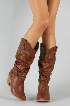 Really cute slouchy brown boots. $36