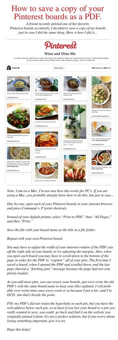 How to save a copy of your Pinterest boards as a PDF. Need to do this before I get another board deleted even though no nudity!