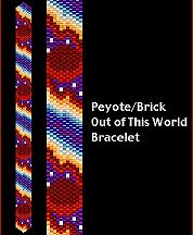 Out of This World Bracelet Pattern. This slender bracelet is a show-stopper filled with vibrant colors and detail. Full-color, flat-mode Beadscape pattern, thumbnail image, Delica # chart and brief instructions on completion. 8 colors.