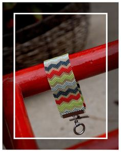 Boutique custom CHEVRON STRIPES peyote beaded bracelet from picklesandco pixieville. $38.00, via Etsy.