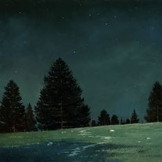 To study the art of painting nocturnes en plein air, Jake Gaedtke began venturing into the mountains at a. to study nature at night. Night Painting, Nocturne, Night Landscape, Landscape Paintings, Night Scene, Oil Painting Landscape, Painting, Seascape, Landscape Art
