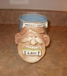 Unique Stoneware Mug, Lawyer Face   Ebay Seller (proverbs31eva)