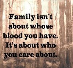 Family isn't about whose blood you have. It's about who you care about.