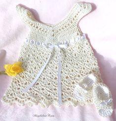 Items similar to Crocheted Newborn Lace Sundress, Sandals Ecru Cotton Yarn on Etsy Hand Crochet, Hand Knitting, Knit Crochet, Crochet Crafts, Newborn Crochet, Crochet Baby, Sweater Hat, Toddler Sweater, Vogue