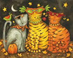 Cats/gatos en Halloween, ilustración de Debi Hron