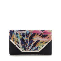 Call It Spring Black 'Tiffany' graphic floral clutch bag- at Debenhams.com