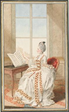 Mlle d'Avenart, c. 1770 by Louis Carrogis Carmontelle (1717-1806) (Chantilly)