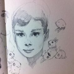 Cant sleep so the best thing to do is try out a new pencil. #audreyhepburn #sketch #moleskine #actress #bunnies