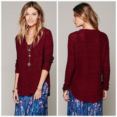 """NWT Free People Cross My Heart Pullover Sweater S Cable knit """"V""""-neck sweater with hi-low hem. Bottom hem shows some gentle fraying. The sleeves are more of a ribbed knit. Super soft and cozy.   *100% Cotton  *Machine Wash Cold  *Import Measurements for Small: Bust: 46""""=117 cm  Length: 25 1/2""""=65 cm  Sleeve Length: 17 1/4""""=44 cm Free People Sweaters"""