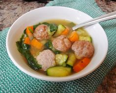 The perfect chilly night dinner at home! This Simple Italian Wedding soup is whole food, is easy to make, healthy and paleo Paleo Recipes, Healthy Dinner Recipes, Soup Recipes, Whole Food Recipes, Healthy Snacks, Yummy Recipes, Chicken Recipes, Weight Loss Meals, Cooking
