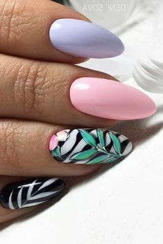 Mix summer nail design. Our collection of summer nail designs will help you make your look special during the summer. One of these will definitely come to your liking and create some vacation mood in case you still do not have it. You will never forget your vacation with one of these creative summer nails ideas. #glaminati #lifestyle #summernails #naildesign