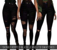 SKINNY RIPPED BLACK JEANS (UPDATED) Since my Tumblr was deleted, some of my cc got lost too. I backed up some of it to the site. But other I didn't because it simply didn't fit the theme or I wasn't...