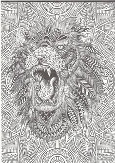 lion abstract doodle zentangle coloring page - Hard Coloring Books
