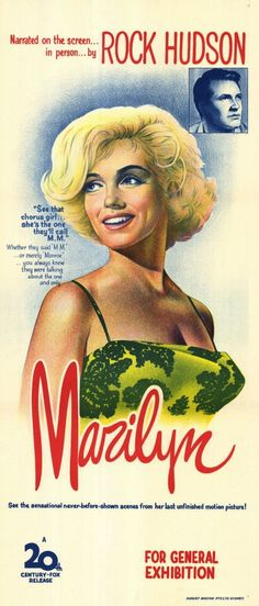 """""""Marilyn"""" - biography/filmography produced as a tribute to Marilyn Monroe by 20th Century Fox, narrated by Rock Hudson, 1963. Australian daybill poster."""