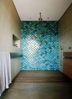 shades of blue mermaid scale bathroom tiles