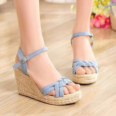Womens Platform Wedges Roman Gladiator Sandals Ankle Strap High Heels Summer New in Clothing, Shoes & Accessories, Women's Shoes, Heels Cute Shoes Heels, Shoes Heels Wedges, Pretty Shoes, Casual Shoes, Shoe Boots, Sandals Outfit, Fashion Sandals, Ankle Strap High Heels, Girls Shoes