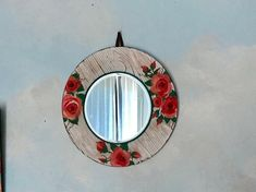 Shabby Chic Country Mirror Decorative Round Mirror Small Bedroom Floral Mirror Rose Rose Bud Wall Art Boho Wall Decor White Wood Texture, Wood Texture Background, Shabby Chic Mirror, Shabby Chic Wall Decor, Small Wall Mirrors, Round Mirrors, Art Decor, Boho, Floral