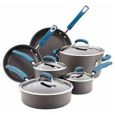 Make meal prep hassle-free with just the right, bright pop of color cooking with the super-sturdy Rachael Ray® Hard-Anodized Nonstick 10-Piece Cookware Set, and leave cleanup to the dishwasher.<br><br>Count on Rachael Ray® for top-quality cookware that cooks like a champ and cleans in a jiff. This 10-piece set includes essential pots and pans so your kitchen's prepped to handle any meal, anytime. The cookware features hard-anodized aluminum construction...