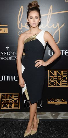 Look of the Day - January 20, 2015 - Nina Dobrev in Andrew Gn from #InStyle