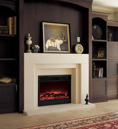 The AD Marble Mantel, in polished Egyptian Beige is a modern mantel, that can double as a stand for a television. 33 Electric Fireplace included. Photo may not match product exactly.