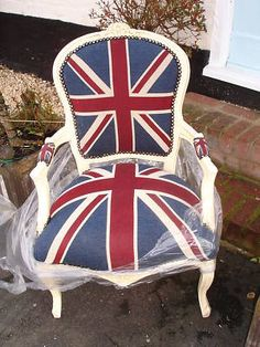 French Louis Shabby Cream Union Jack Chair