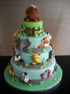 Animal zoo cake By: Birthday Cake Clip Art, Animal Birthday Cakes, Animal Cakes, Happy Birthday Cakes, Birthday Parties, Birthday Cupcakes, Baby Birthday, Zoo Cake, Jungle Cake
